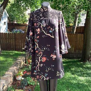 Nanette Lepore Shift Dress w/ Bell Sleeves & Lace